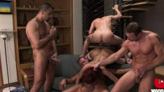 Wild Crystal Crown has three horny men hammering all her holes at once