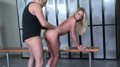 Dazzling Brynn Tyler gets her snatch drilled hard in the locker room