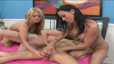 Four lustful and lonely hotties engage in lesbian sex and cum together