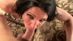 Stacked Kendra Secrets has two guys sharing her mouth and her snatch