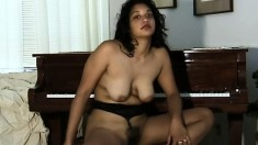 Busty Keola fingers her snatch and exposes her hot curves by the piano