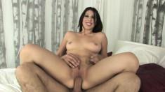 Striking Latina Esperanza Diaz has a stiff cock making her peach happy