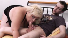 He gets his wish of a blonde BBW to do the nasty with at home