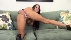 Busty babe Lylith LaVey puts it all out on the couch and gets a dick to fuck