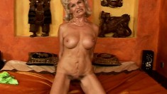 Blonde granny spreads her legs and get nailed with a stiff rod