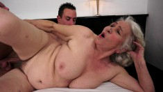 Grandma Norma gets her cunt licked and dicked and swallows his load