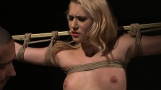 Kinky blonde beauty Linda gets tied up and pounded rough from behind