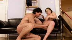 Horny brunette is eager to ride a throbbing piece of man meat