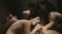 Midget orgy with fantastic head and a free for all on pussy drilling