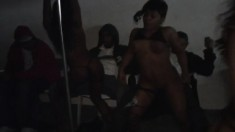 Slender ebony chick with a marvelous booty Amber enjoys a wild party