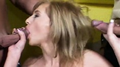 Two horny boys fucking a sultry blonde's fiery holes at the same time