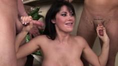 Big breasted Eva Karera sucks a few cocks and swallows their hot load