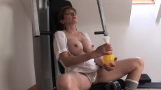 Bodacious and lustful blonde wife works out her needy holes in the gym