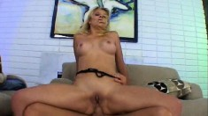 Horny blonde vixen Genesis gets a hardcore ass reaming on the couch