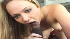 Delightful blonde schoolgirl Amber plays out her interracial fantasies