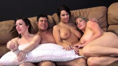 Maggie, Jennifer and Lylith stuff their hungry pussies with hard cocks