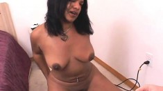 Exotic girl with big natural tits Kavelle cums hard riding the sybian