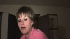 Short-haired Vixen Gets Horny And Takes A Bulging Rod In Her Mouth