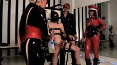 Nasty mistresses fuck with their slaves and sit on one of their faces