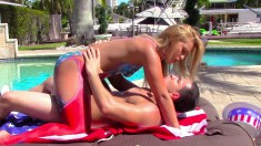 Patriotic blonde with a splendid booty fucks a long dick under the sun