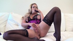 Voluptuous Blonde Beauty In Sexy Lingerie Teases And Pleases Herself