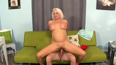 Chubby Mature Blonde Can Take a Big Cock