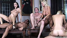 Blonde and brunette wives gets drilled and eat cum for dessert