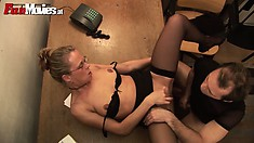 Lusty secretary in black underwear delivers mind-blowing blowjob and fucks really great