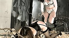 She gets her all trussed up and does some ass whacking and pussy toying