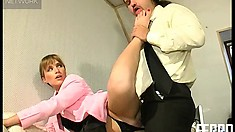 Hot Blonde Boss Does Whatever She Wants To Her Submissive Employer