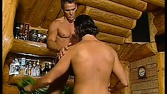 Athletic gay superstuds with huge bones fuck and suck in a wooden cabin