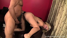 Naughty blonde maid in black stockings seizes the chance to fuck a huge black dick