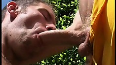 Horny jocks can barely make it out of their uniforms before their eating delicious dick