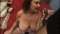 Horny older woman with big natural boobs reveals how much she enjoys a black dick