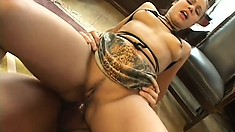 Enticing brunette with perky tits welcomes a stiff cock deep in her tight anal hole
