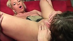 Lovely blonde with tiny boobs moves on top to feed her hungry ass a stiff dick