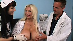 Sophisticated female with nice titties gets her pretty cunt fucked by nasty doctor