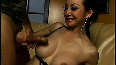 Busty Asian MILF gets her tight holes plugged by a hung black dude