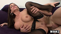 Buxom Victoria Valentino touches herself and has fun with a huge cock