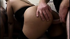 Sex-hungry big-ass Latin mami wants both of their cocks at once