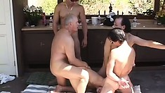 Three cocks at once is nothing for Saphire Rae, even when she's blindfolded