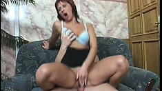 Mature redhead blows, fucks and then gets it up the ass and eats cum