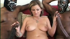 Pretty blonde with marvelous tits has two black dudes sharing her cunt