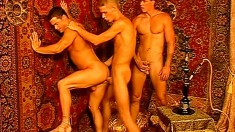 Three hot gay studs lose themselves in hardcore anal fucking