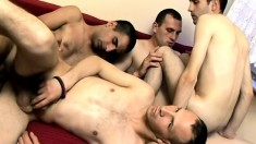 A group of men meet up to blow each other's poles and bang ass