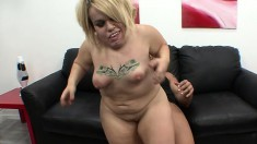 Eager blonde midget Stella takes a rough pounding between her legs