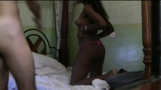 Cuddlesome dark-skinned slut is having extra-marital affair with white dude