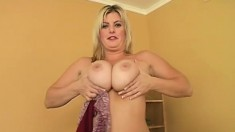 Blonde with big hooters gets started on her own and takes on a hard pounding black dick