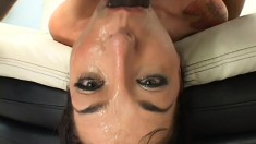 Lexiu puts on stockings and gets her face covered in 3 guys' jizz