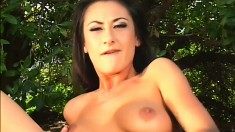 Ethnic chick shows off her superb body and gets banged rough outside